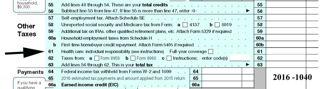 2016 IRS form 1040