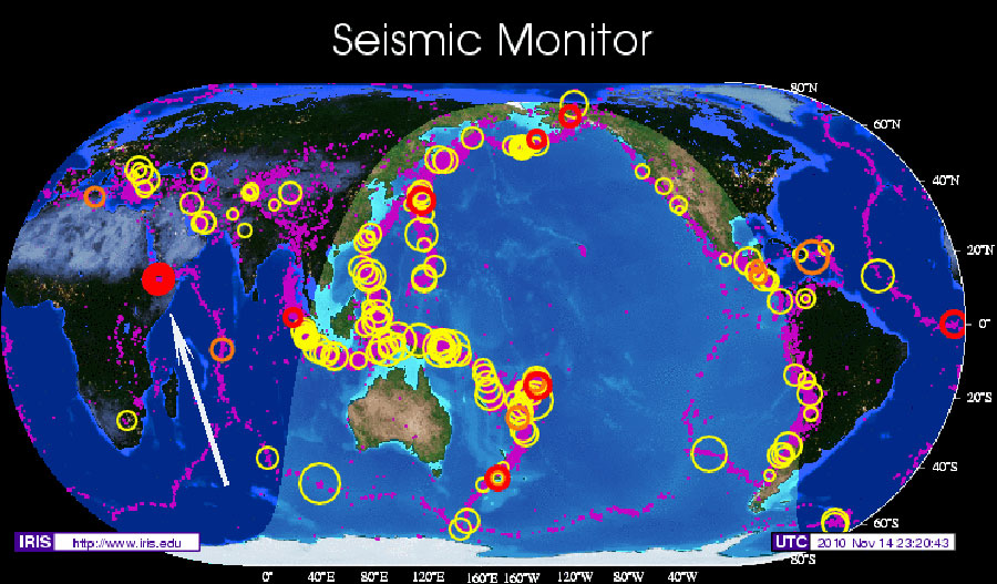 earthquake map of world. IRIS World Map Nov 14 2010
