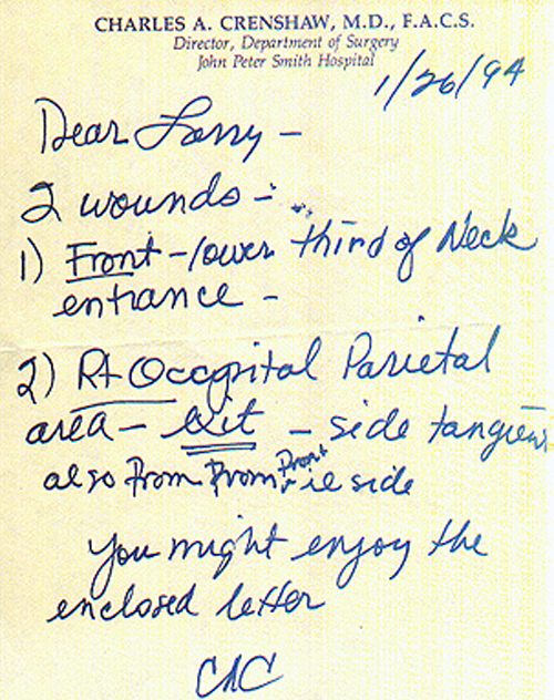 Dr CRenshaw Note from 1994